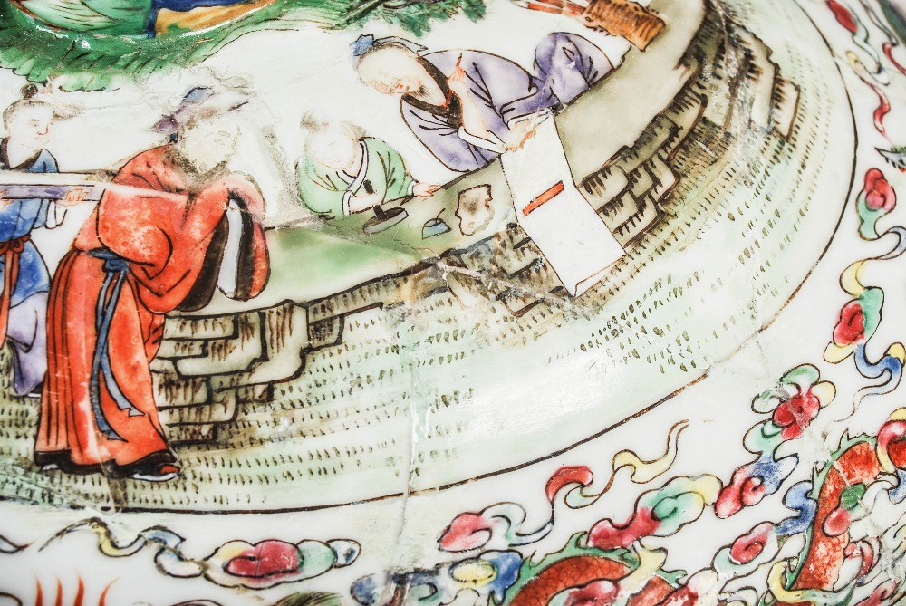 A Chinese porcelain famille rose covered warming tureen, Qing Dynasty, the oval shaped base - Image 4 of 7