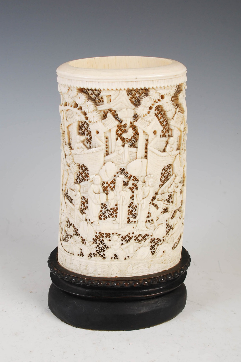 A Chinese ivory tusk vase, Qing Dynasty, carved with figures, pavilions and pine trees on a - Image 2 of 5
