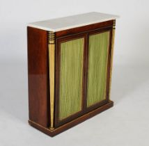 A 19th century rosewood, parcel gilt and gilt metal mounted side cabinet, the mottled white and grey