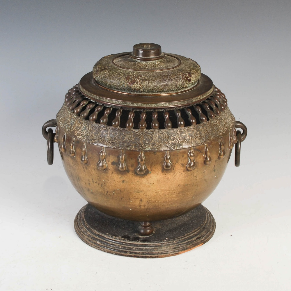 A Chinese bronze twin handled censer and cover, Qing Dynasty, the oviform body with pierced double - Image 2 of 6