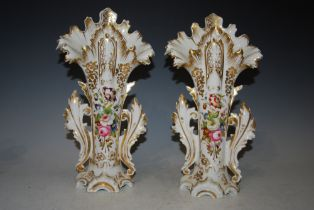 A PAIR OF LATE 19TH CENTURY HAND PAINTED SPILL VASES WITH GILDED DECORATION