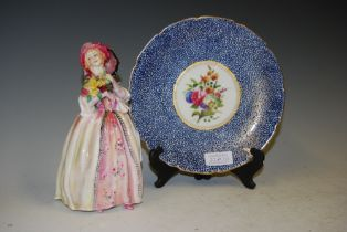 ROYAL DOULTON FIGURE JUNE HN1641 TOGETHER WITH A ROYAL DOULTON BLUE, WHITE AND FLORAL DECORATED
