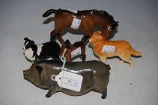 A ROYAL DOULTON MODEL OF A PIG, TOGETHER WITH BESWICK RETRIEVER, BESWICK COLLIE DOG AND TWO