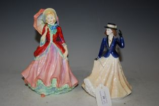 A ROYAL WORCESTER FIGURE 'ANNABELLE' TOGETHER WITH A PARAGON FIGURE 'LADY PATRICIA'
