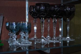 SIX PURPLE FLASH CLEAR AND CUT GLASS HOT GLASSES, TOGETHER WITH SIX CLEAR, GILT AND BLUE GLASS