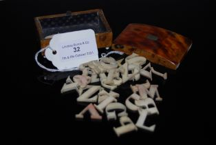 COLLECTION OF ASSORTED IVORY / IVORINE LETTERS, TOGETHER WITH A 19TH CENTURY BLONDE TORTOISESHELL