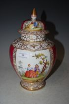 A DRESDEN PORCELAIN PUCE GROUND JAR AND COVER WITH FIGURAL PANEL DETAIL