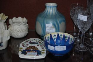A PILKINGTONS ROYAL LANCASTRIAN BLUE GLAZED VASE, TOGETHER WITH A DANISH HAND PAINTED POTTERY