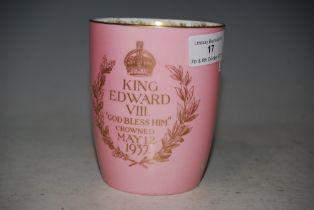 A ROYAL DOULTON PINK GROUND EDWARD VIII 1937 COMMEMORATIVE CORONATION BEAKER
