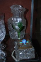 EARLY 20TH CENTURY ART AND CRAFTS CLEAR AND GREEN GLASS TABLE CENTREPIECE VASE, TOGETHER WITH A