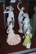 GROUP OF FIVE PORCELAIN FIGURES TO INCLUDE LLADRO FIGURE OF GIRL WITH STRAW HAT, TWO NAO PORCELIN