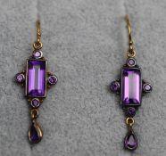 Pair of amethyst drop earrings