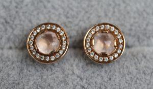 Pair of signed designer stone set earrings