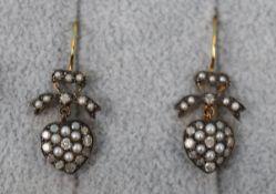 Pair of pearl diamond heart earrings