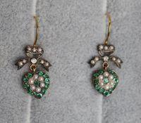 Pair of emerald, diamond & seedpearl heart earrings