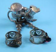 Antique plated Scottish cruet and serviette rings