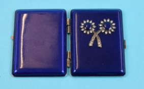 Blue enamel double mirror compact with stones to front