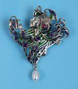 Silver champlevé enamel & stone set Art Nouveau style brooch / pendant