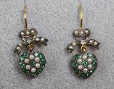 Pair of emerald, pearl & diamond heart earrings