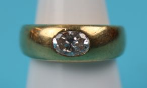 Heavy 18ct gold solitaire diamond ring (size L)