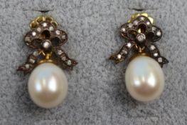Pair of pearl & diamond bow earrings