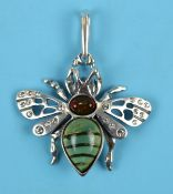 Silver & amber bumble bee pendant
