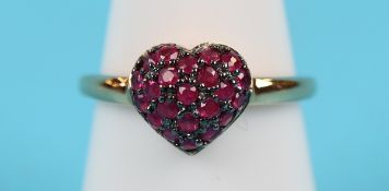 Gold ruby heart ring