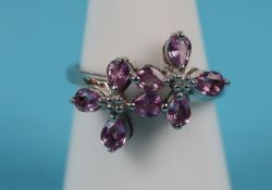 White gold purple sapphire & diamond ring (with certificate)
