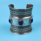 Silver cuff bracelet set with Lapis Lazuli