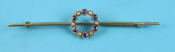 Antique 15ct sapphire & pearl set brooch