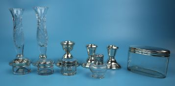Collection of hallmarked silver to include bud vases & pair of candlesticks etc
