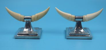 Pair of hallmarked silver and ivory knife stands