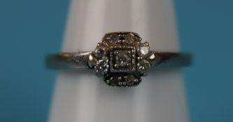 White gold Art Deco style diamond ring
