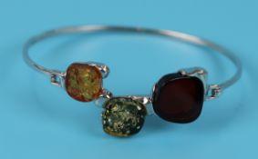 Silver and amber bangle