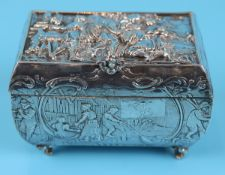 Berthold Muller chased silver casket - Approx weight: 188g