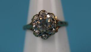 Gold aquamarine & diamond ring