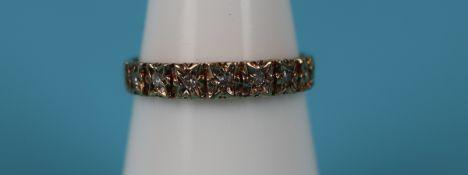 Gold diamond set half eternity ring