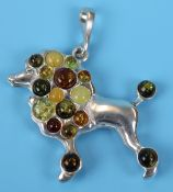 Silver & amber poodle pendant