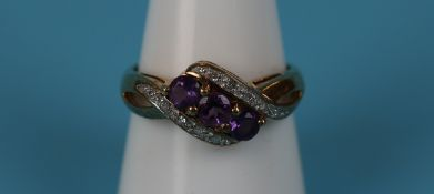 Gold amethyst & diamond ring
