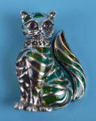 Silver Plique-à-jour enamel cat brooch