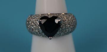18ct white gold heart shaped sapphire & diamond ring