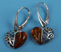 Pair of silver & amber heart earrings