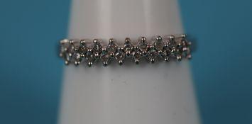 White gold double row diamond ring