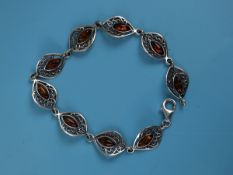 Silver & amber bracelet