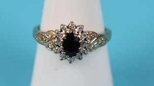 Gold sapphire & diamond cluster ring