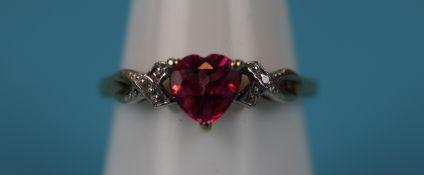 Gold heart shaped pink topaz & diamond ring