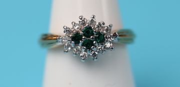 Gold green garnet cluster ring