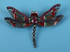 Ruby, emerald, sapphire, diamond & enamel dragonfly brooch