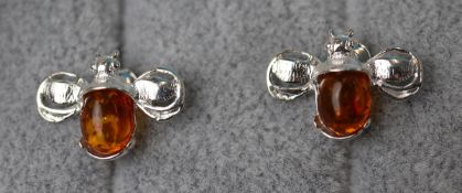 Pair of amber bumble bee earrings
