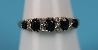 Gold sapphire & diamond Victorian style ring